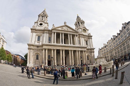 Stock Photo: 1909-1424 St Pauls Cathedral exterior and dome London England  UK United Kingdom GB Great Britain British Isles Europe EU