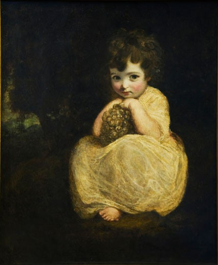 Stock Photo: 1909-1477 Child with Grapes painted by Sir Joshua Reynolds in the interior of the Lady Lever Gallery in Port Sunlight Model Village Wirral Peninsula Merseyside England UK United Kingdom GB Great Britain British Isles Europe EU
