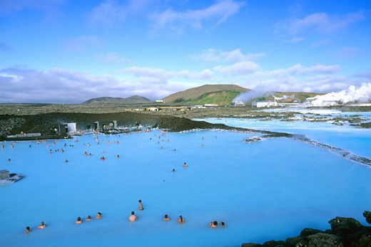 Stock Photo: 1909-1566 Blue Lagoon Geothermal Spa Pool in summer in day daylight sun sunshine near Reykjavik Iceland Europe This image replaces AF4H77