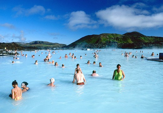 Blue Lagoon Geothermal Spa Pool in summer in day daylight sun sunshine near Reykjavik Iceland Europe This image replaces AF4H79 : Stock Photo