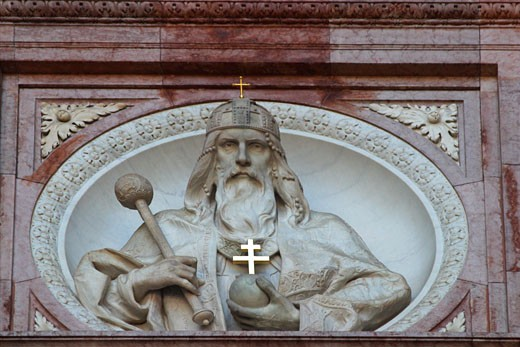 Budapest St Stephen s Stephens Basilica detail of exterior Hungary Europe : Stock Photo