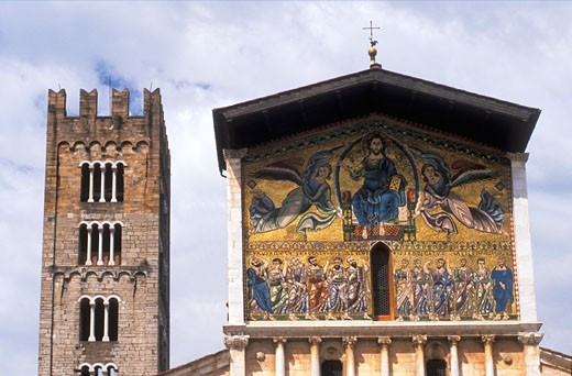 Stock Photo: 1909-2108 Lucca San Frediano Church 13th Century Ascension mosaic by Berlinghieri Lucca Tuscany Italy Europe