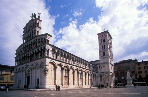 Stock Photo: 1909-2116 Church of San Michele  Facade Lucca Tuscany Italy