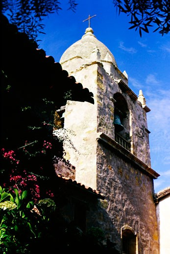 Carmel Mission Bell Tower Basilica built circa 1797 Monterey County California USA U S A United States : Stock Photo