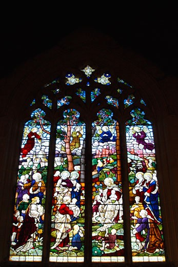 Stock Photo: 1909-2207 Shropshire Moreton Corbett Corbet Morton St Bartholomews Church stained glass window England UK GB United Kingdom Great Britain British Isles Europe EU