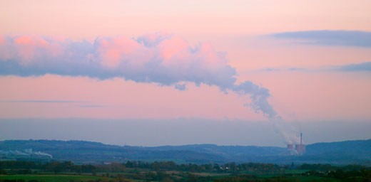 Stock Photo: 1909-2303 Shropshire Ironbridge Power Station with steam rising to merge with sunlit evening clouds from the cooling towers of the coal burning power station in Shropshire England UK GB Great Britain United Kingdom British Isles Europe EU