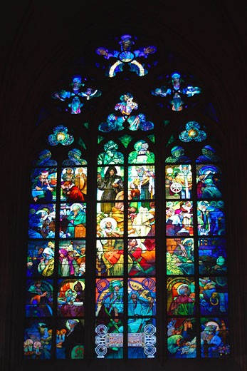 Stock Photo: 1909-2315 Prague St Vitus cathedral stained Glass Window by Alfonse Mucha Prague Czech Republic Eastern Europe EU The window is a good example of Art Nouveau stained glass and shows St Cyril and St Methodius