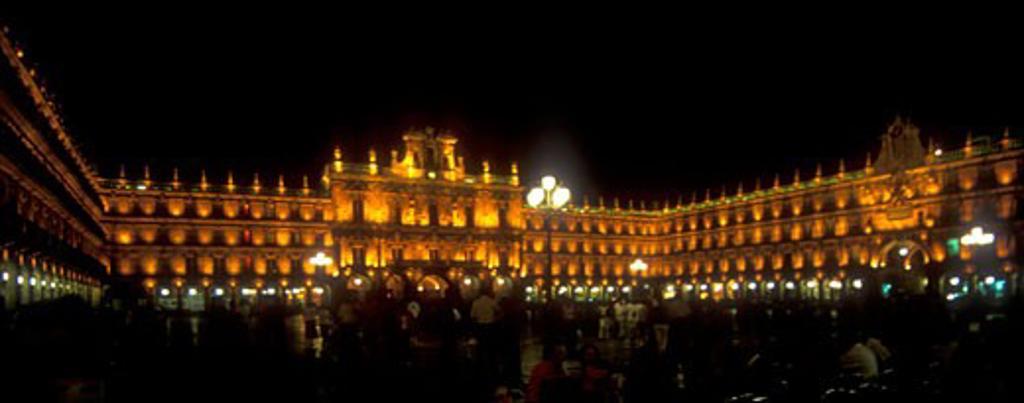 Stock Photo: 1909-2354 Salamanca Plaza Mayor illuminated at night Salamanca Castile Leon Spain Espana Europe EU