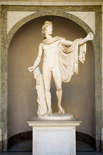 Stock Photo: 1909-2589 Vatican Museum Apollo del Belvedere roman statue a copy of the Greek original Rome Italy italia Europe EU