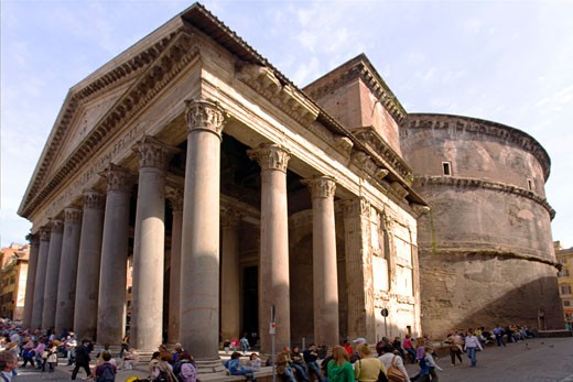 Stock Photo: 1909-2685 Pantheon from Piazza della Rotunda Rome Italy Europe EU