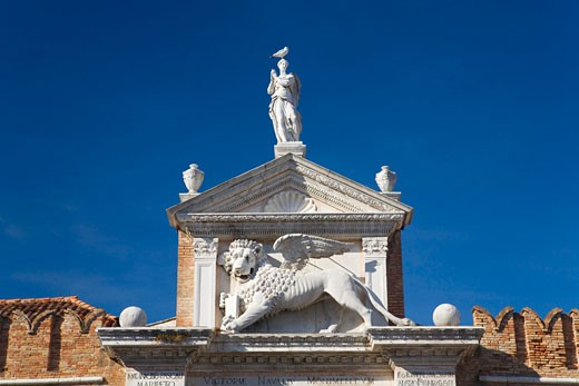 Arsenale main entrance detail of winged lion Castello district Venice Veneto Italy Europe EU : Stock Photo