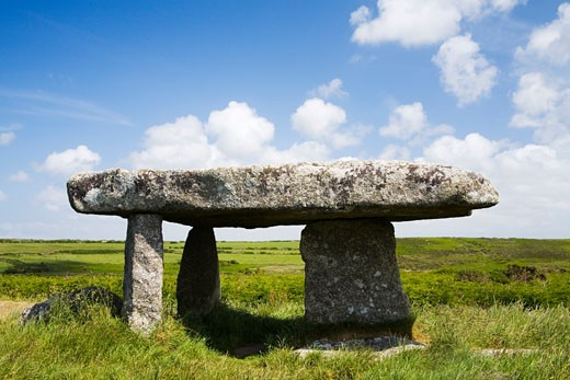 Stock Photo: 1909-2993 Lanyon Quoit near Madron West Penwith on the Lands End peninsula on a sunny summers day Cornwall England UK United Kingdom Great Britain GB Europe