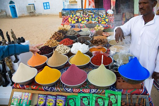 Colourings colorings and spices for sale in outdoor market in nubian village near Aswan Egypt North Africa Middle East : Stock Photo