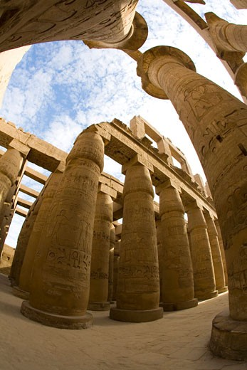 Stock Photo: 1909-3352 Hypostyle Hall Temple of Amun Karnak in Luxor Egypt North Africa Karnak Temple is the largest temple complex ever built and was gradually enlarged by successive pharoahs over a thirteen hundred year period