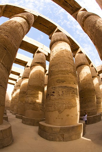 Stock Photo: 1909-3359 Hypostyle Hall Temple of Amun Karnak in Luxor Egypt North Africa Karnak Temple is the largest temple complex ever built and was gradually enlarged by successive pharoahs over a thirteen hundred year period