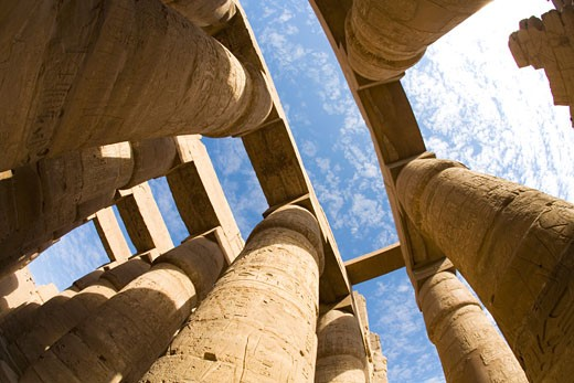 Hypostyle Hall Temple of Amun Karnak in Luxor Egypt North Africa Karnak Temple is the largest temple complex ever built and was gradually enlarged by successive pharoahs over a thirteen hundred year period : Stock Photo