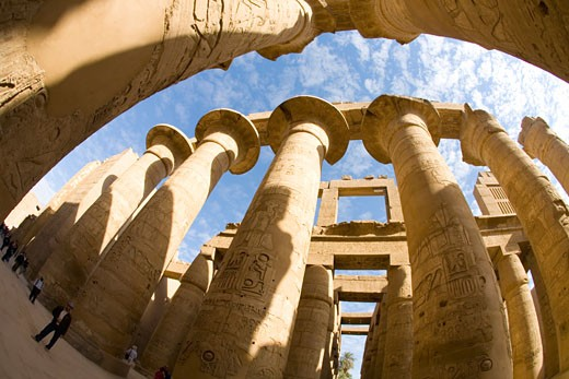 Stock Photo: 1909-3361 Hypostyle Hall Temple of Amun Karnak in Luxor Egypt North Africa Karnak Temple is the largest temple complex ever built and was gradually enlarged by successive pharoahs over a thirteen hundred year period