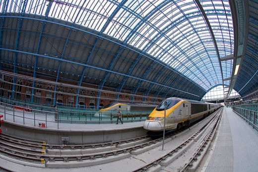 Eurostar trains at platforms in St Pancras Station London England UK United Kingdom GB Great Britain British Isles Europe EU : Stock Photo