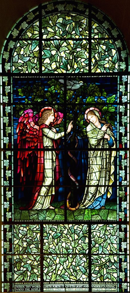 Winchester Cathedral PreRaphaelite Pre-Raphaelite Pre Raphaelite stained glass window of the Annunciation designed by Sir Edward Burne-Jones interior Hampshire Hants England UK United Kingdom GB Great Britain British Isles Europe EU : Stock Photo
