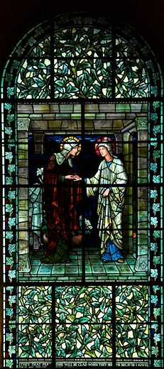 Winchester Cathedral PreRaphaelite Pre-Raphaelite Pre Raphaelite stained glass window designed by Sir Edward Burne-Jones interior Hampshire Hants England UK United Kingdom GB Great Britain British Isles Europe EU : Stock Photo