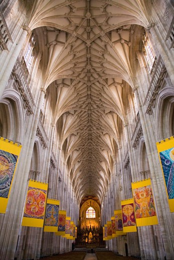 Stock Photo: 1909-3604 Winchester Cathedral nave interior Hampshire England UK United Kingdom GB Great Britain British Isles Europe EU