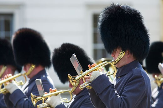 Stock Photo: 1909-3658 Trumpet trumpeters of the Coldstream Guards band playing music at the changing the guard at Buckingham Palace London England Great Britain GB United Kingdom UK British Isles