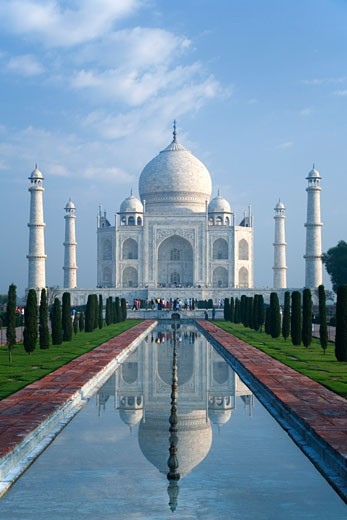 Stock Photo: 1909-3685 Taj Mahal mausoleum in early morning light Agra Uttar Pradesh India Asia The Mughal Emperor Shah Jahan commissioned the building in memory of his favourite wife  Mumtaz Mahal Constructed in 1632-1648