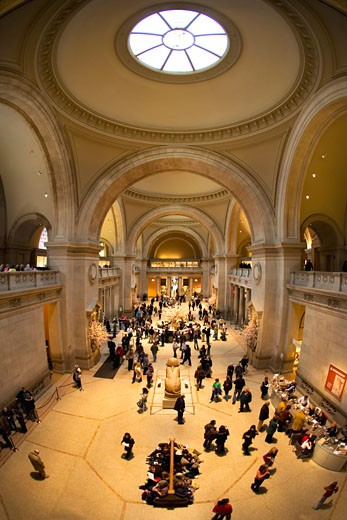 Stock Photo: 1909-3799 Metropolitan Art Museum and Art Gallery entrance hall lobby with welcome and information desk Museum interior New York City  NY NYC USA United States of America North This image replaces AC7H4H