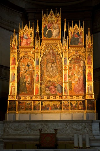 Stock Photo: 1909-3916 Montepulciano Duomo Cathedral Assumption of the Virgin triptych by Taddeo di Bartolo dates from 1401 Tuscany Italy Italia Europe