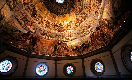Stock Photo: 1909-3944 Florence Duomo Santa Maria del Fiore cathedral interior of Brunellesci dome cupola with frescoes of the Last Judgement by Vasari Florence Firenza Tuscany Italy Italia Europe EU