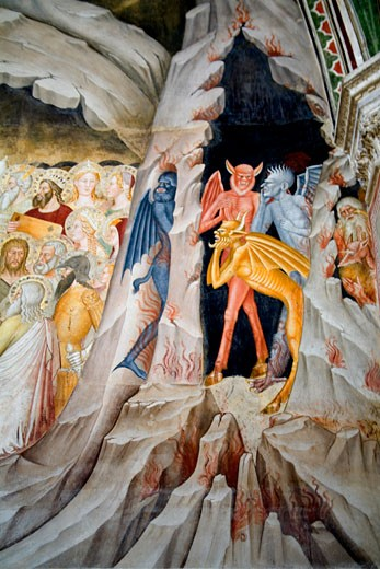 Stock Photo: 1909-3953 Florence Santa Maria Novella Spanish Chapel Capelloni degli Spagnoli with fresco detail showing the Descent of Christ to Limbo by Andrea di Bonaiuto 1365 to 1367 Florence Tuscany Toscana Italy Italia Europe EU