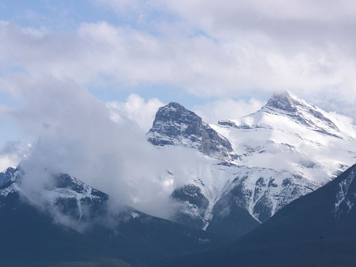 Stock Photo: 1910-1028 Three Sisters Mountain after spring snowfall  above Canmore  Canada  Alberta