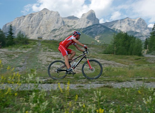 Mountain bike racers compete during annual 24 Hours of Adrenaline Race  help at Canmore  Canada  Alberta : Stock Photo