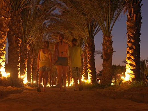 Stock Photo: 1910-1126 Twilight view of three teenage kids walking along sandy palm lined corridor  with ground level lighting  Egypt  Red Sea Riviera  Marsa Alam