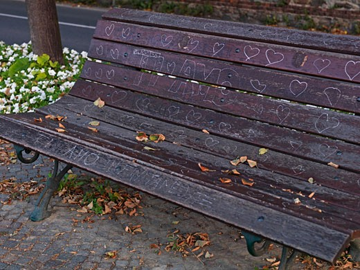 Stock Photo: 1910-1194 Bench showing graffitti written in italian Ti amo means I love you  in park  Italy  Piedmont