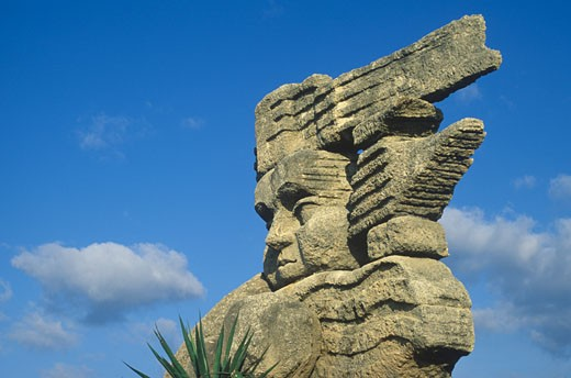 Stock Photo: 1910-1500 Satue of Aztec god Patecatl  In Aztec mythology Patecatl was a god of healing and fertility and the discoverer of peyote  CUBA Varadero