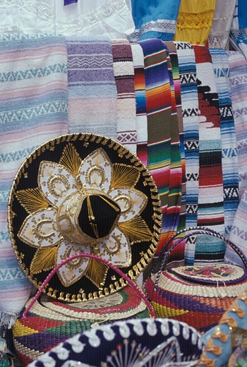 Mexican handicrafts on display for sale at outdoor market MEXICO : Stock Photo