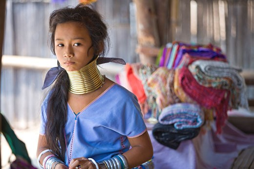 Long-necked Villagers from various tribes on the borders of Thailand  Myanmar  Laos  Tong Luang Village-collection of Eco-Agricultural Villages from around Thailand  Chiang Mai  Thailand  SE Asia : Stock Photo