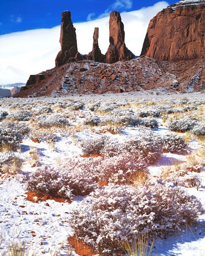 Stock Photo: 1912-1104 Three Sisters  Fresh Snow  Monument Valley Tribal Park  Arizona  Utah