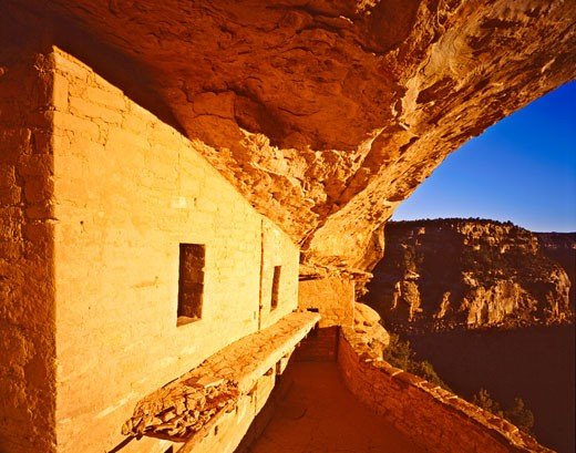 Morning Light at Balcony House in Winter  Mesa Verde National Park  Colorado : Stock Photo