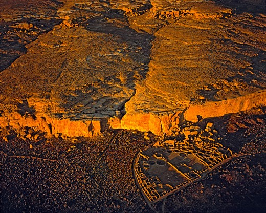 Stock Photo: 1912-1567 Aerial View of Pueblo Bonito  Chaco Culture National Historic Park  New Mexico