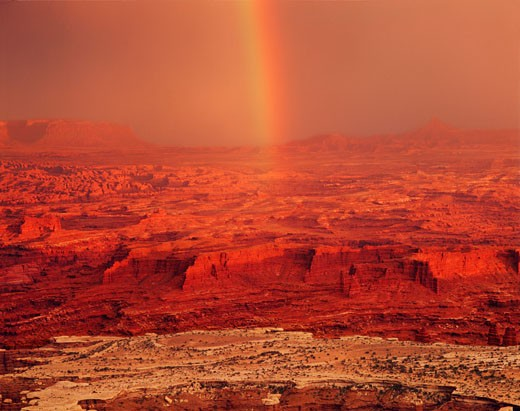 Rainbow Over the Canyonlands  Canyonlands National Park  Utah : Stock Photo