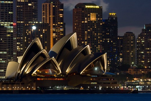 Stock Photo: 1916-6217 Australia, Sydney, night lit scene looking across Sydney Harbor to iconic Opera House