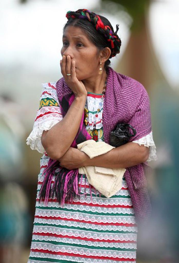 Stock Photo: 1916-6663 Mexico, Oaxaca, Jalapa, Mazateco woman during 'Santo Patrono' celebration