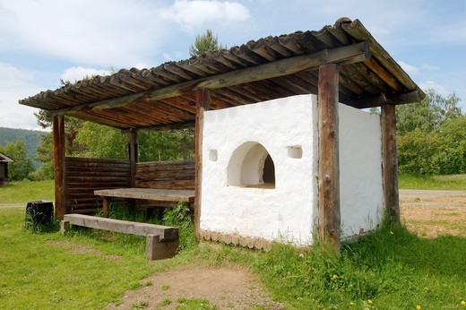 Russian Federation, Siberia, Baikal, Irkutsk region, Traditional Buryat furnace for cooking, Settlement Talzy : Stock Photo