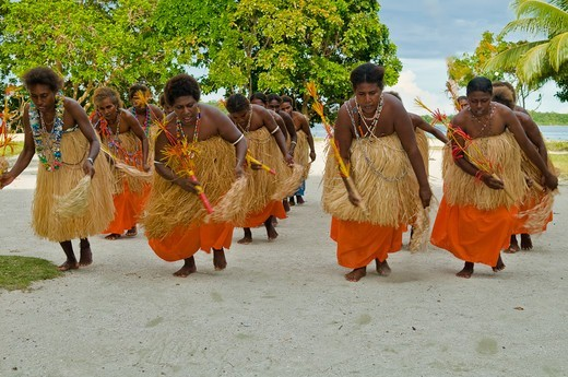 Stock Photo: 1916-7215 Solomon Islands, Local Villgers entertain with traditional dance