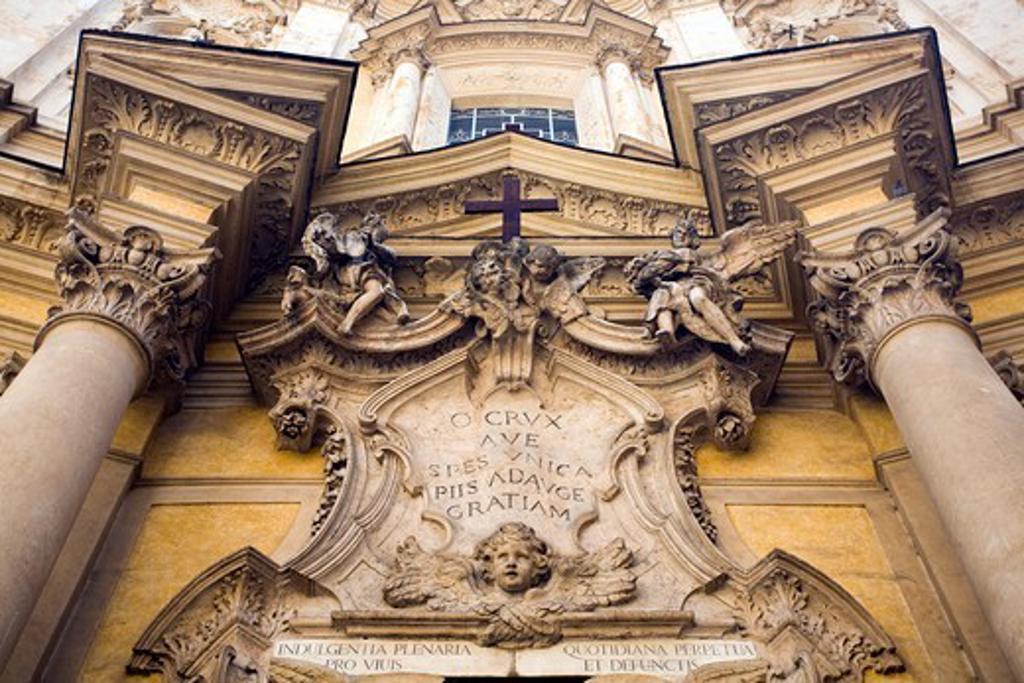 Stock Photo: 1916-7581 Italy, Rome, Detail from rococo facade of Maddalena church