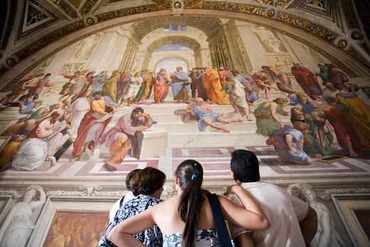 Stock Photo: 1916-7589 Vatican, Vatican city, Vatican museums, Visitors in front of Raphael's School of Athens painting