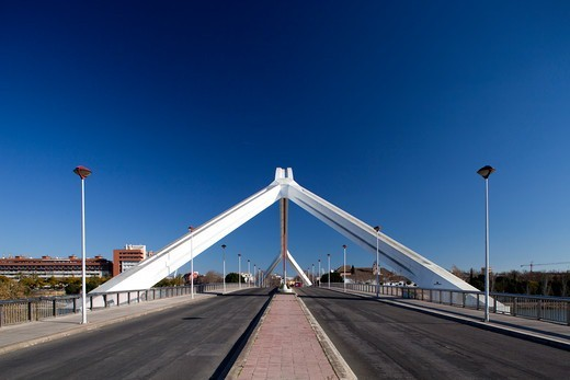 Stock Photo: 1916-7606 Spain, Andalusia, Seville, Barqueta Bridge built for Expo 92.