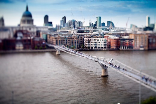 Stock Photo: 1916-7615 United Kingdom, England, London, Millennium Bridge over Thames and St Paul cathedral in background,